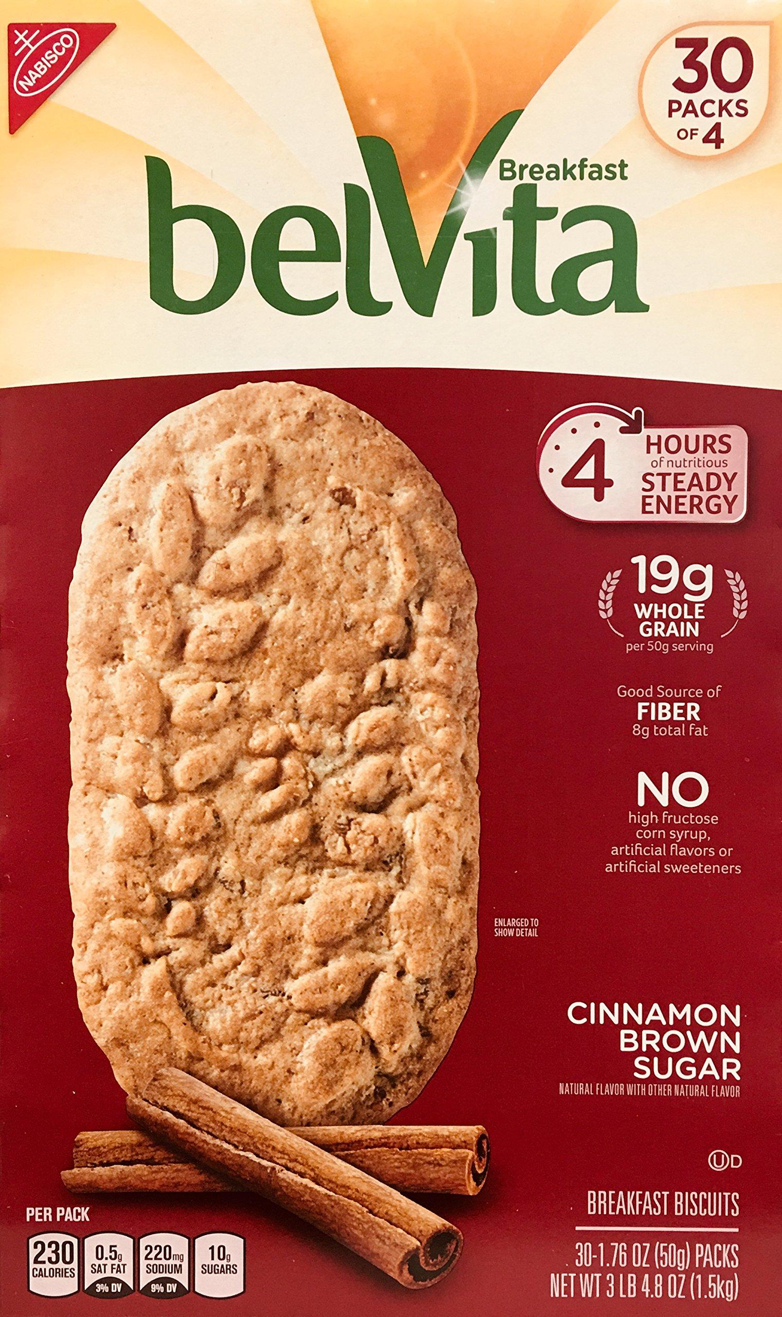 Belvita Cinnamon Brown Sugar Biscuits, 1.76 oz, 30Count, 4 Pack by Belvita