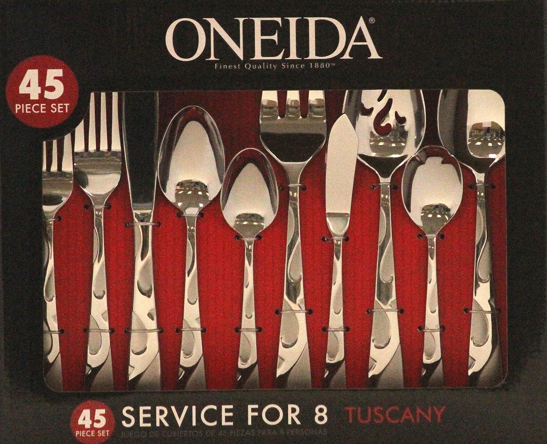 Amazon.com: Oneida Tuscany Juego de cubiertos., Plateado ...