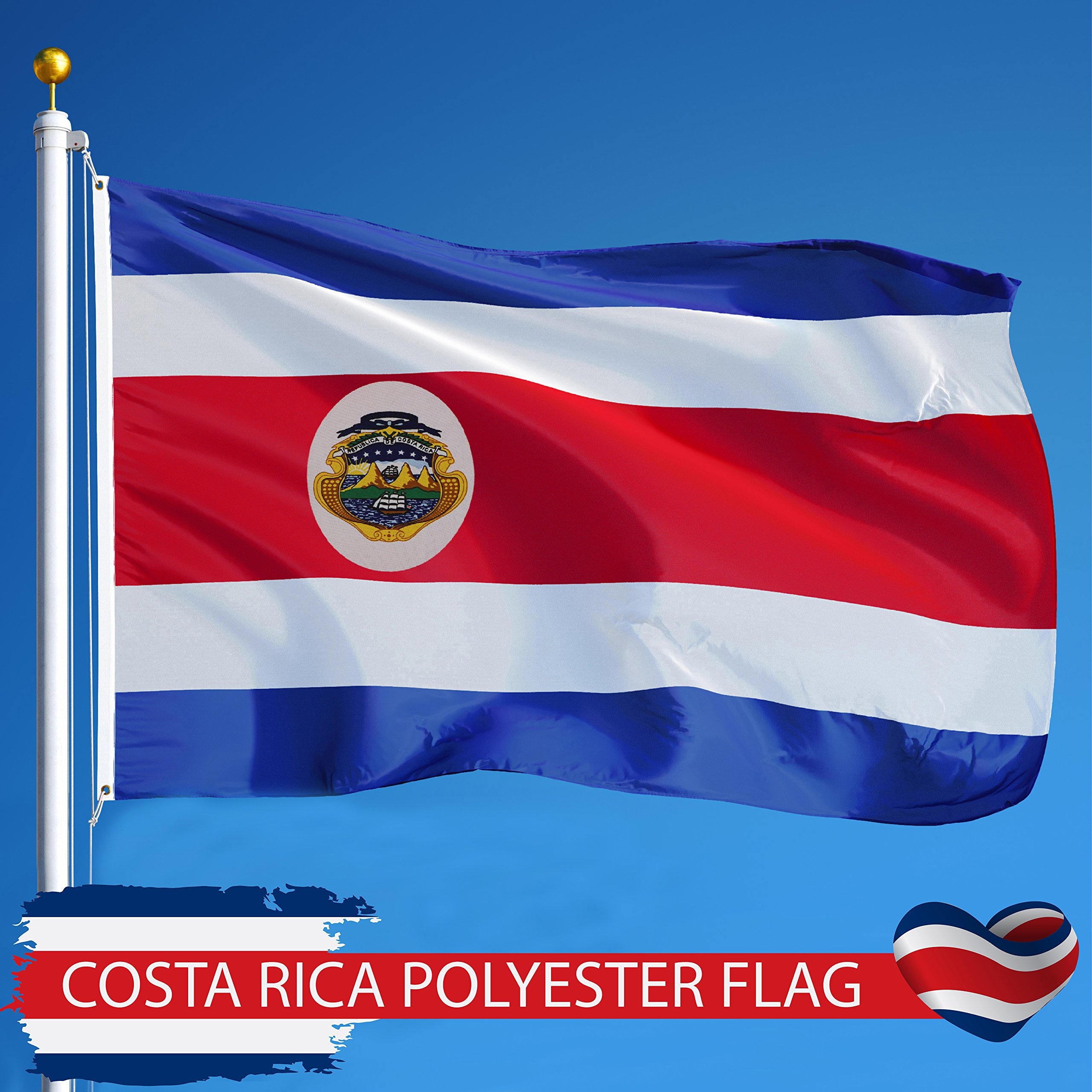 G128 - Costa Rica Costa Rican Flag 3x5 ft Printed Brass Grommets 150D Quality Polyester Flag Indoor/Outdoor - Much Thicker and More Durable than 100D and 75D Polyester