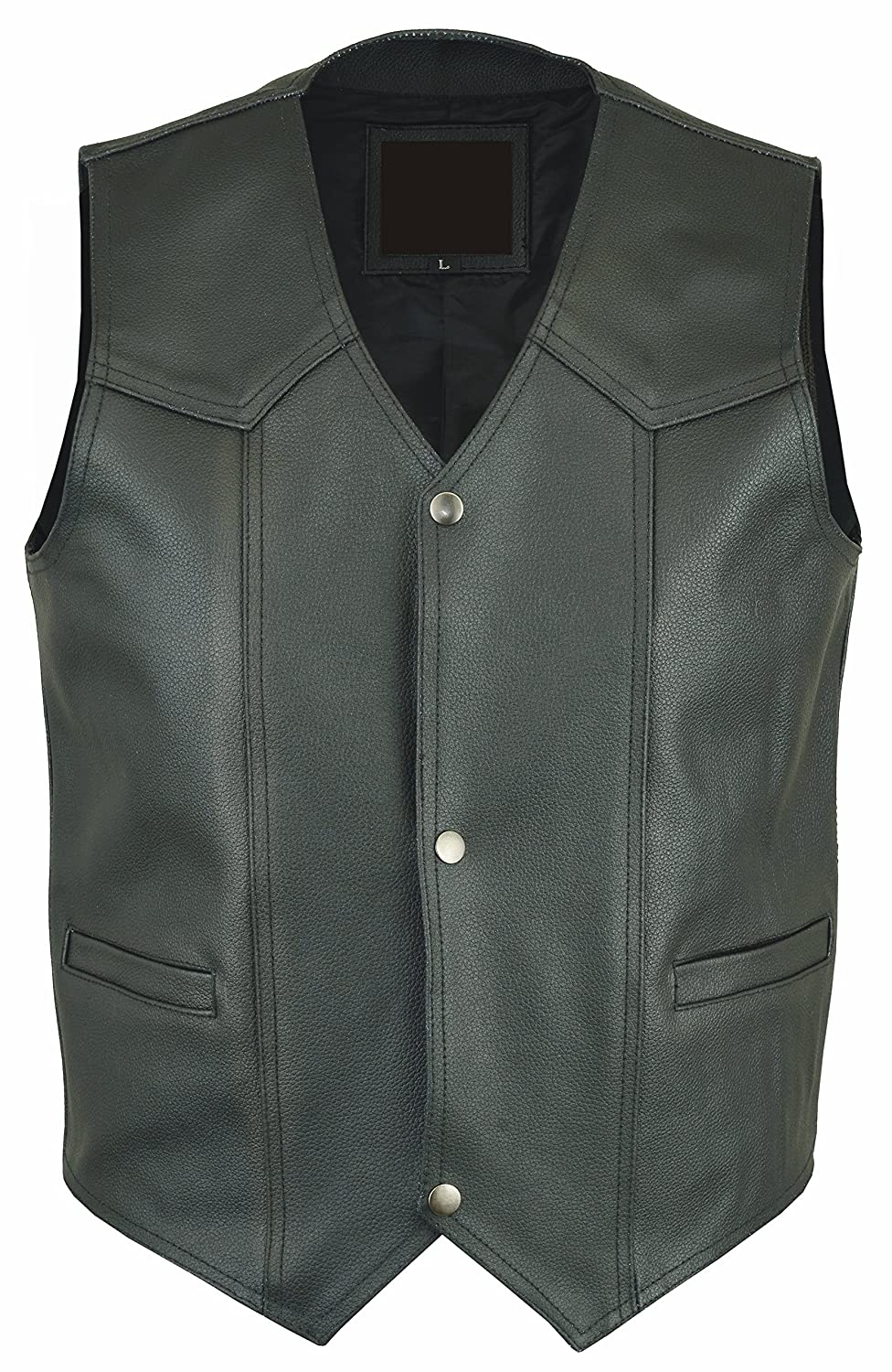MENS Rd-603 Black LEATHER WAISTCOAT MOTORBIKE / MOTORCYCLE Vest