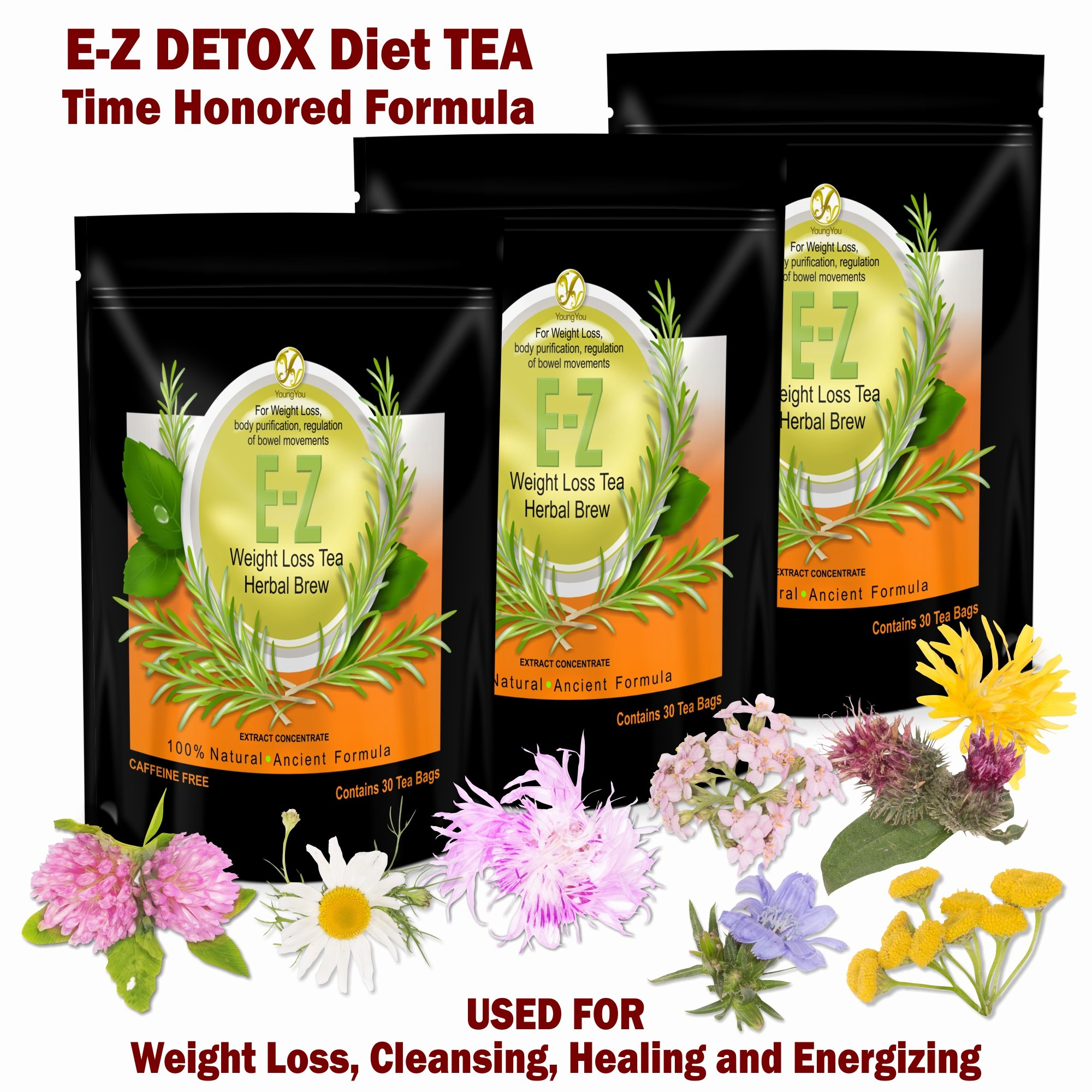 E-Z Detox Diet Tea: Fat Burner. Appetite Suppressant. Fast Weight Loss and Body Cleanse. Proven Weight Loss Diet Tea 3 packs