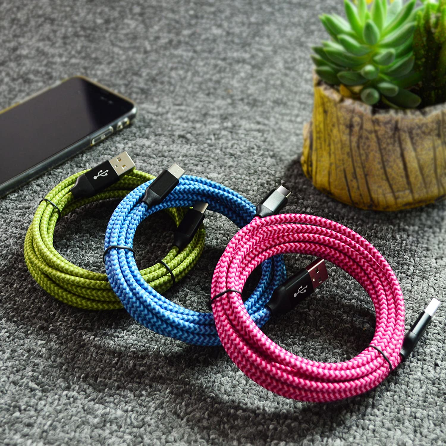 G7 Google Pixel 3 Moto G6 HTC 10 LG V30 G6 G7 Blue USB Type C Cable 3 Pack 10FT UMECORE USB Charging Cable Type C Braided Cord for Samsung Galaxy S20 S10 S9 S8 Note 8 A5 A20 Oneplus 6 5 3T