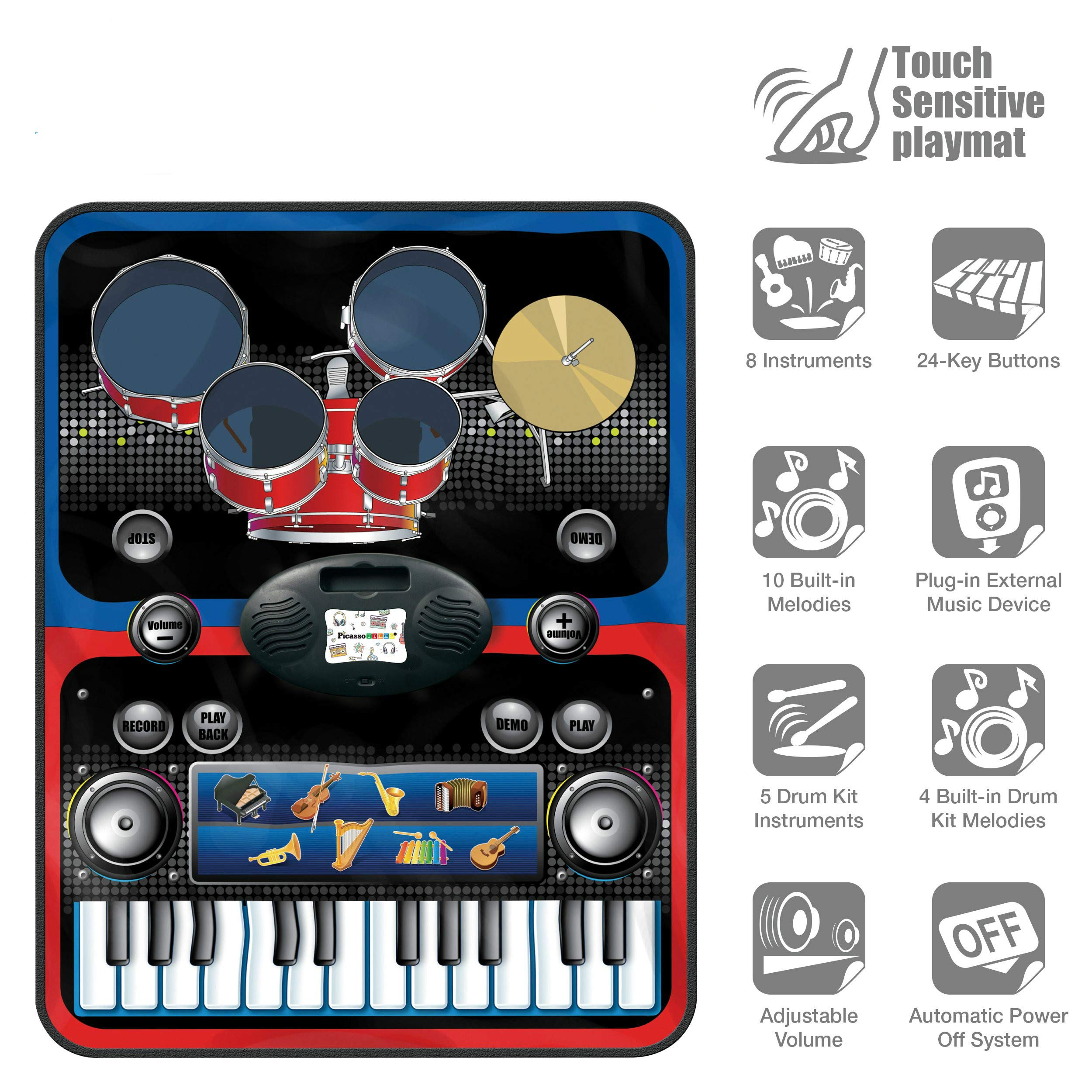 2-in-1 Functional Drum & Piano Foldable Music Mat with 5 Piece Drum, 2 Drum Sticks, 14 Demos, 24 Key Piano Keyboard with 8 Different Recordable Musical Instruments, Powerful Speakers with 3.5mm Aux Co by Toner Depot (Image #5)
