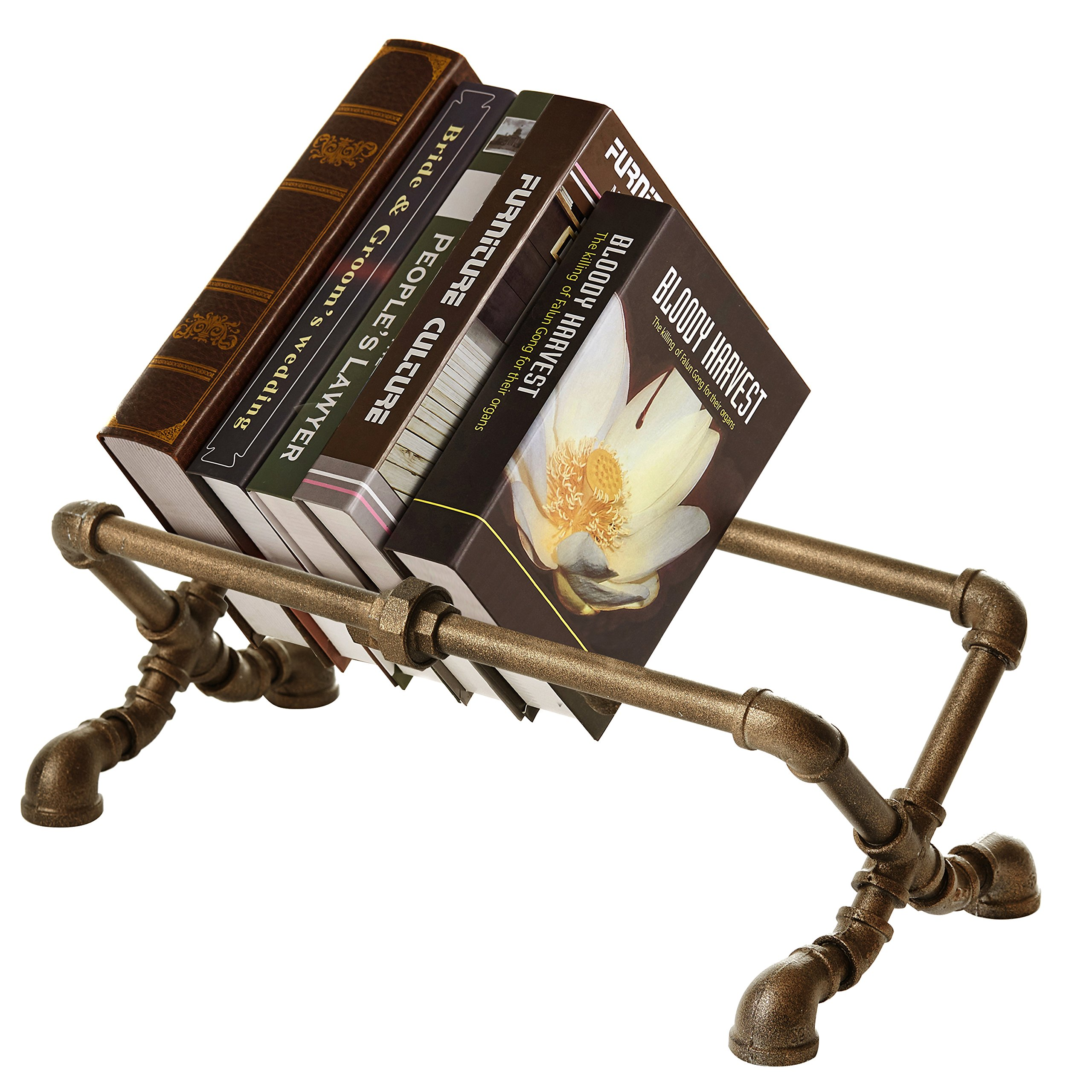 MyGift Decorative Industrial Pipe Design Cast Iron Tabletop Book Rack by MyGift