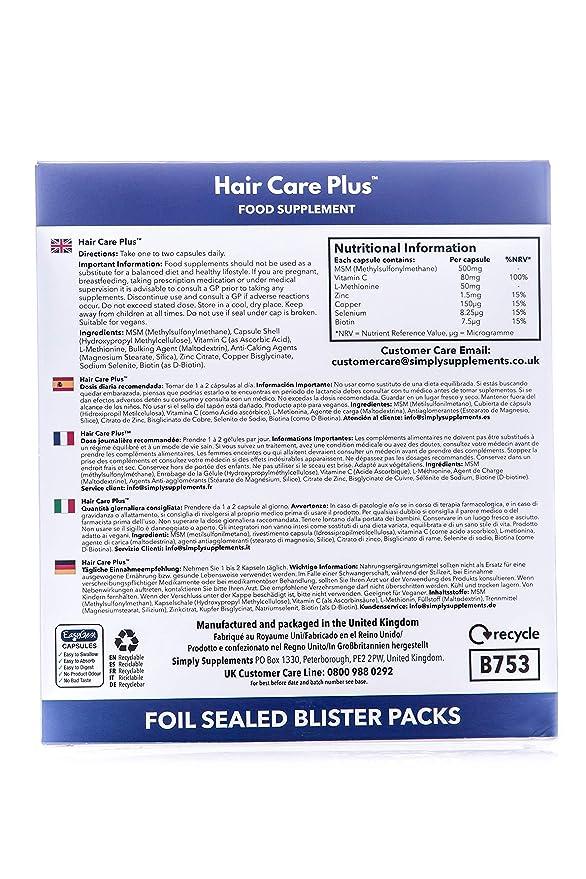 Hair Care Plus - 120 cápsulas - Hasta 4 meses de suministro - 5 vitaminas y minerales combinados para el cuidado del cabello - SimplySupplements: Amazon.es: ...