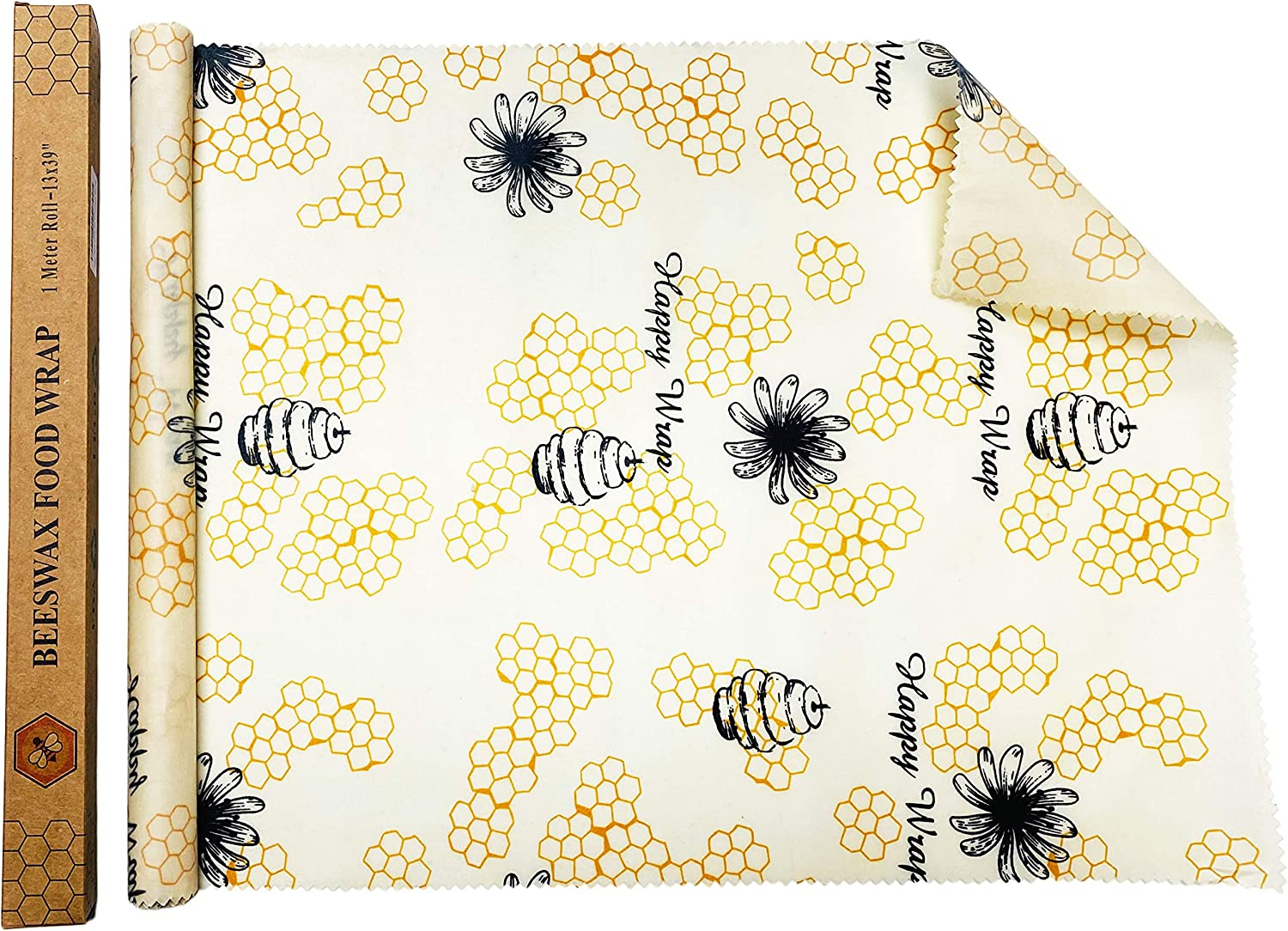 UGOS Organic Beeswax Food Wraps Roll - Reusable Bees Wax Paper Wrap (Happy Bees Roll)