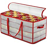 ZOBER Plastic Christmas Ornament Storage Box Large with 2-Sided Dual-Zipper Closure - Keeps 128 Holiday Ornaments, Xmas Decor