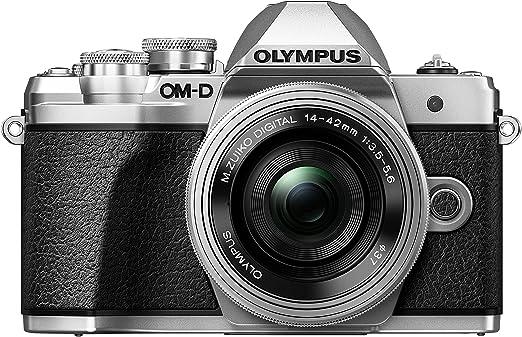 Olympus OM-D E-M10 Mark III Kit, Cámara de Sistema Micro Cuatro Tercios (16 MP, Estabilizador de Imagen de 5 Ejes, Visor Electrónico) + Objetivo Mo 14-42mm EZ, plata