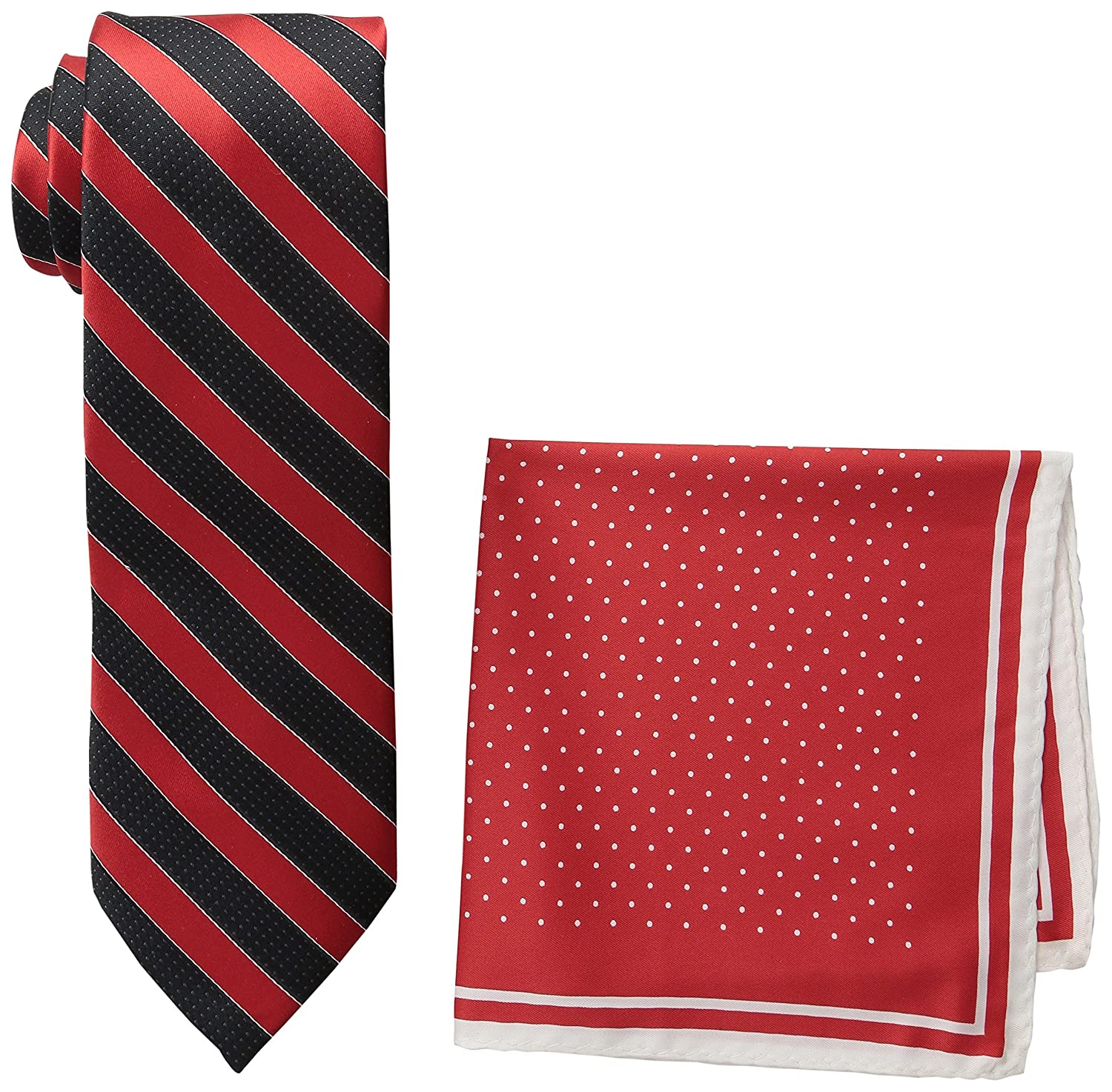 Steve Harvey Men's Tall Extra Long Satin Stripe Woven Necktie and Dot Pocket Square Large Long Ecru Hallmark Neckwear 19MNE02301