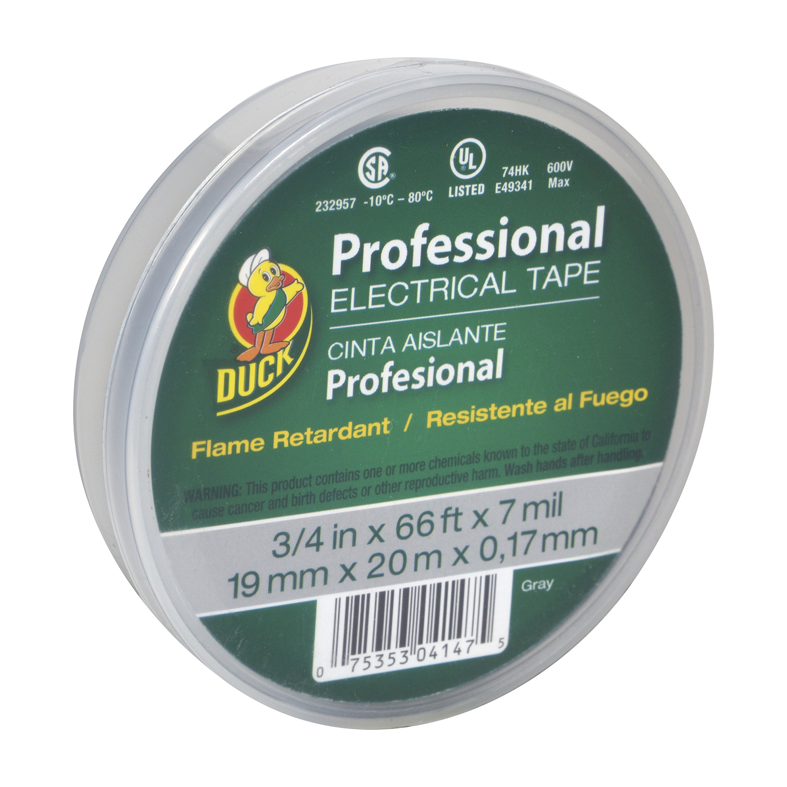 Duck Brand 299018 Professional Grade Electrical Tape, 3/4-Inch by 66 Feet, Single Roll, Gray