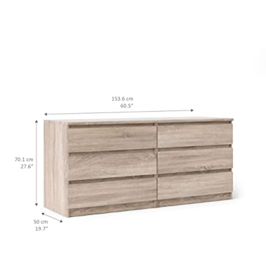 Tvilum 70296cj Scottsdale 6 Drawer Double Dresser, Truffle