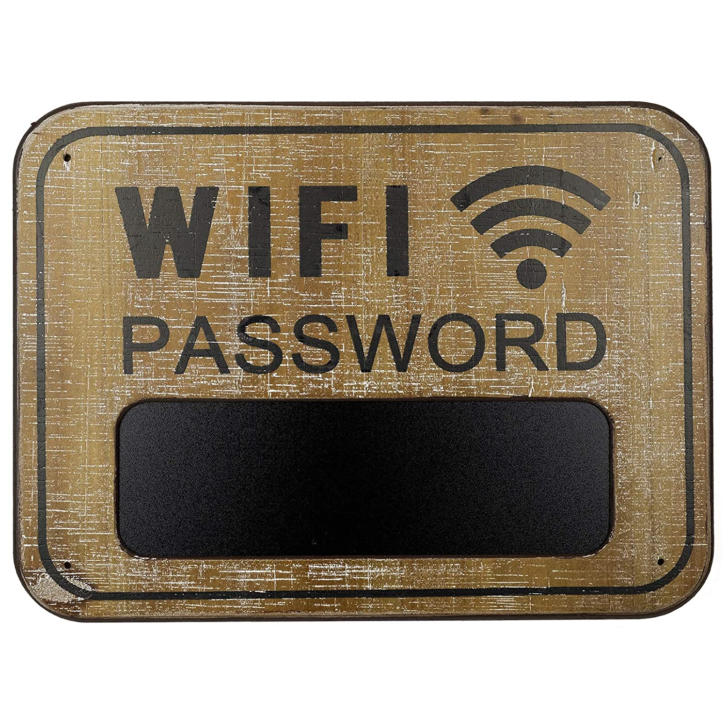 WiFi Password Sign Made from Distressed Weathered Surface Wood. Includes a Mini Chalkboard to Display WiFi Password (Brown)