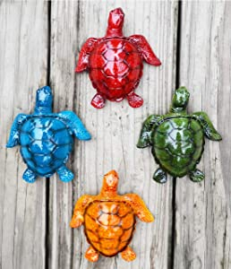 GIFTME 5 Cute Sea Turtles Wall Decor Set of 4 Indoor Outdoor Resin Wall Decor Prefect Addition to Backyard,Walkways or Entrances Garden Wall Sculptures