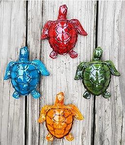 GIFTME 5 Cute Sea Turtles Wall Decor Set of 4 Indoor Outdoor Resin Wall Decor Prefect Addition to Backyard,Walkways or Entrances Garden Wall Sculptures