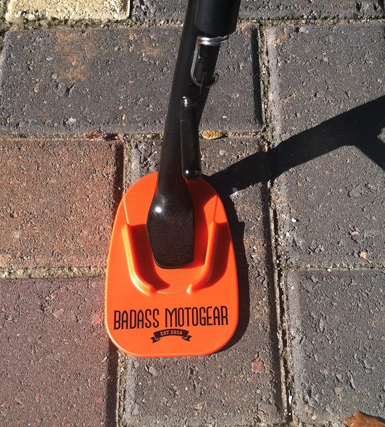 Badass Moto Gear Motorcycle Kickstand Pad - Sturgis Orange - American Made in USA. Durable Biker Kick Stand Coaster/Support Plate Color Choices. Park Your Bike on Hot Pavement, Grass, Soft Ground