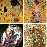 """CoasterStone AS9830 """"Gustav Klimt Collection"""" Absorbent Coasters, 4-1/4-Inch, Set of 4"""