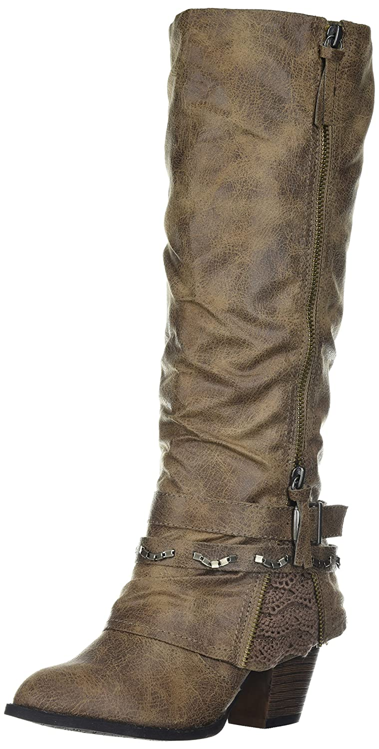 Jellypop Women's Carrly Engineer Boot B072DY18FK 7.5 B(M) US|Stone Distressed Suede Like