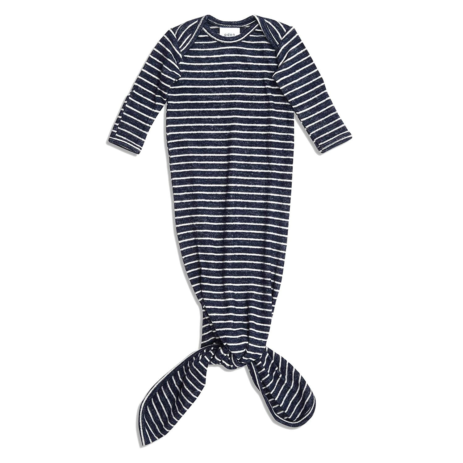 anais Snuggle Knit Knotted Newborn Baby Gown Super Soft and Stretchy Gown with Mitten Cuffs aden Navy Stripe 0-3 Months