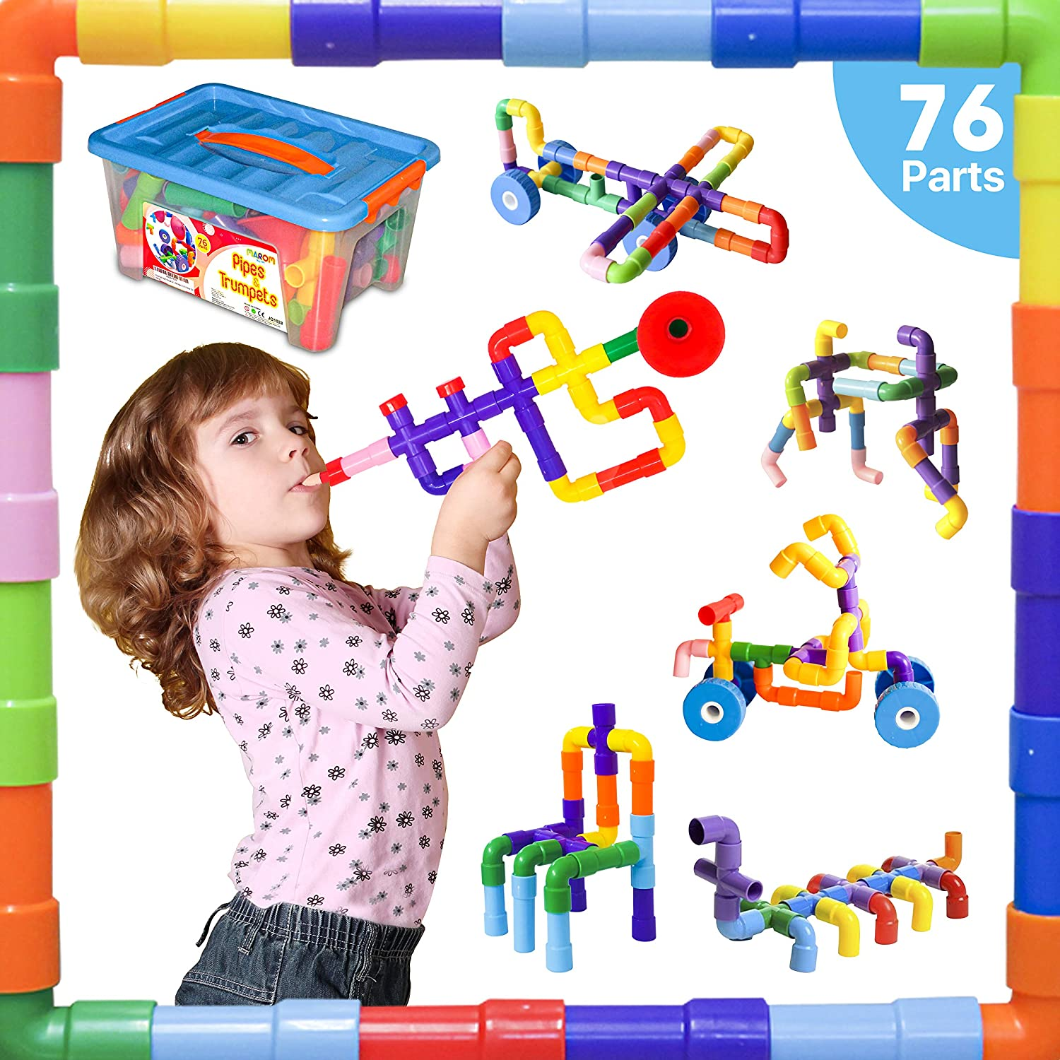 Pipe Building Blocks Toys for Kids Age 2 3 4-5 Year Old Boys Girls Toddlers Toys Age 2-4 Years Educational Stem Kids Learning Toys Preschool Building Blocks for Kids Ages 3-5 Engineering kids toy Gift