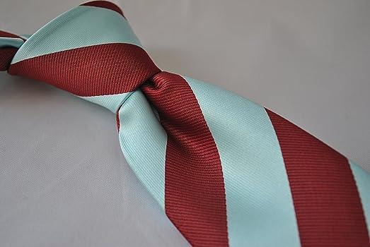 Frederick Thomas azul claro y granate corbata a rayas con ...