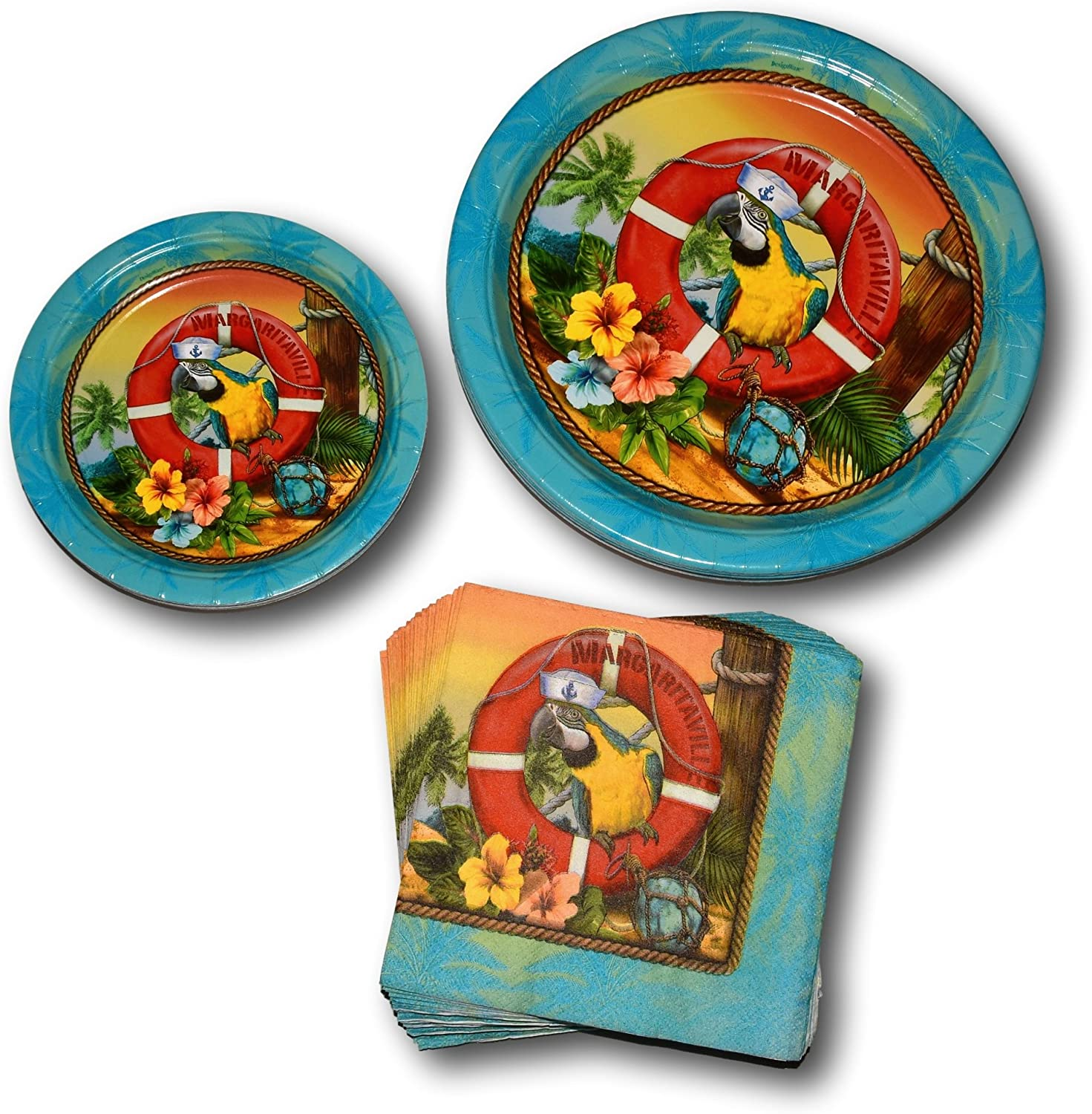 amscan Summer Hawaiian Luau Tropical Beach Margaritaville Paper Plates and Napkins Party Supply Bundle - Picnic Tableware Set Includes Dinner Plates - Dessert Plates and Parrot Napkins
