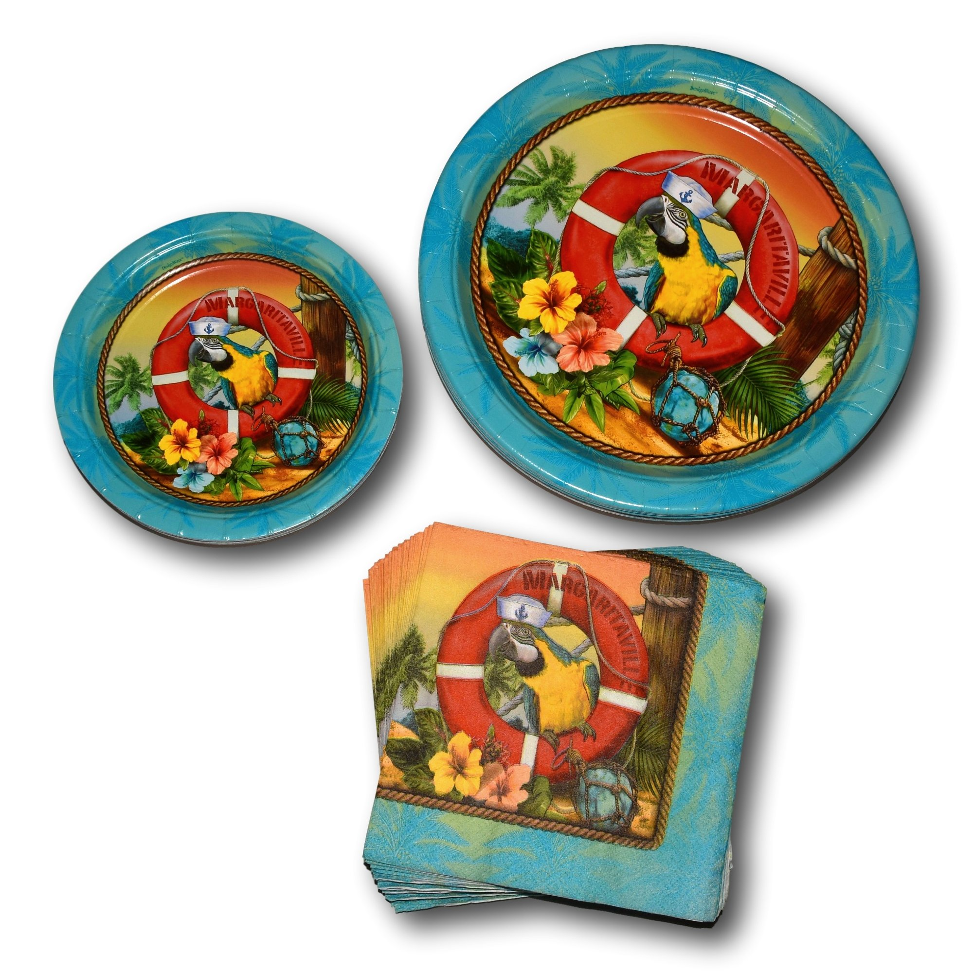 Combined Brands Summer Hawaiian Luau Tropical Beach Margaritaville Paper Plates and Napkins Party Supply Bundle - Picnic Tableware Set Includes Dinner Plates - Dessert Plates and Parrot Napkins