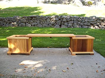 Wood Country Planter/Bench Set, Cedar Stain