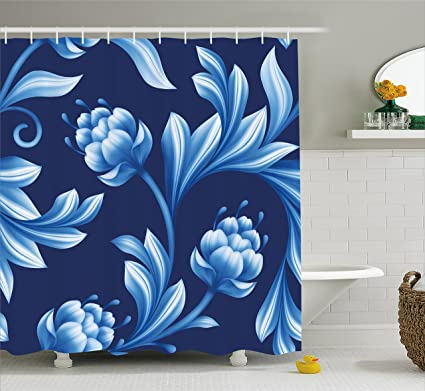 Lunarable Royal Blue Shower Curtain By Blossoms In Pastel Toned Colors Folkloric Art Stylized Floral