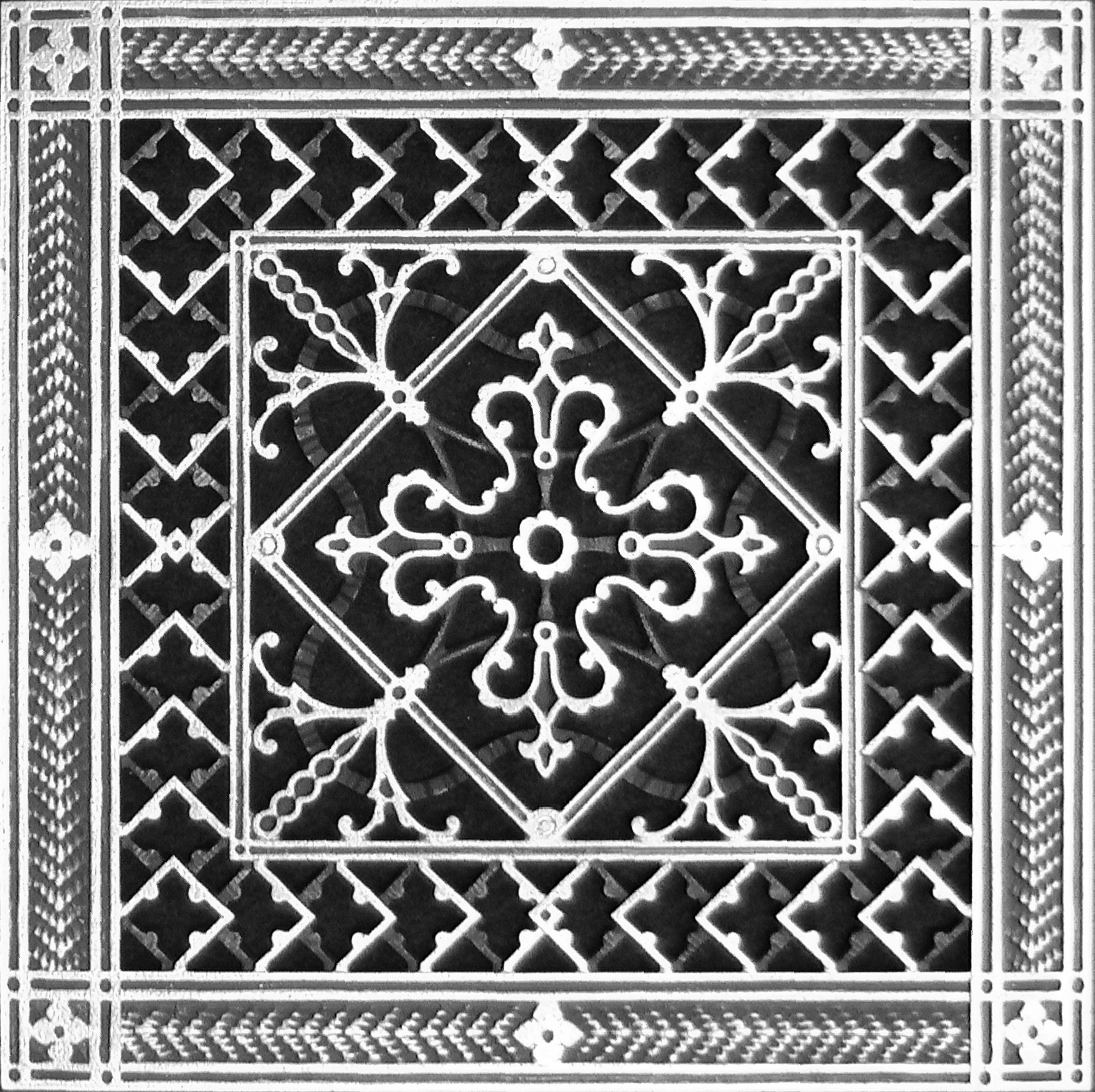 Decorative Grille, Vent Cover, or Return Register. Made of Urethane Resin to fit over a 10''x10'' duct or opening. Total size of vent is 12''x12''x3/8'', for wall and ceiling grilles (not for floor use).