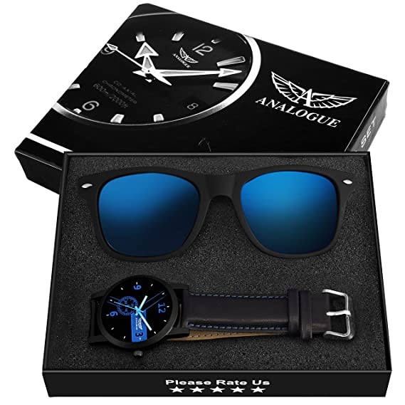 c965a525e17e4 Buy Analogue Men s Blue Dial Watch and Wayfarer Sunglasses Combo Set Online  at Low Prices in India - Amazon.in