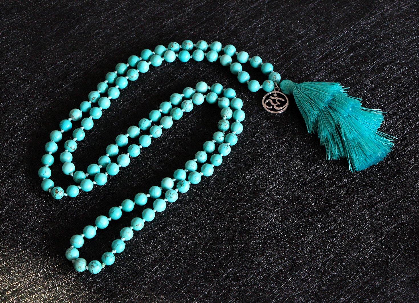 MHZ JEWELS Turquoise Mala Beads Necklace Bracelet Gemstone Prayer Beaded Meditation Yoga Necklace for Women by MHZ JEWELS (Image #5)