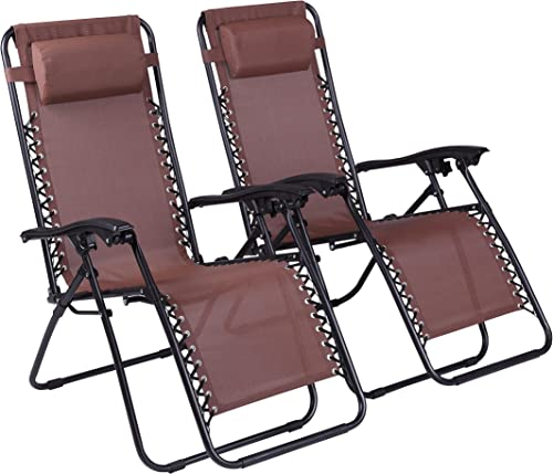 Naomi Home Zero Gravity Lounge Patio Outdoor Recliner Chairs Brown Set of 2