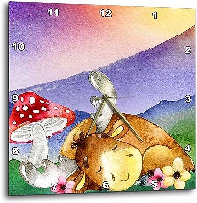3dRose TNMGraphics Animals - Napping Moose and Big Red Mushroom - 10x10 Wall Clock (dpp_286296_1)