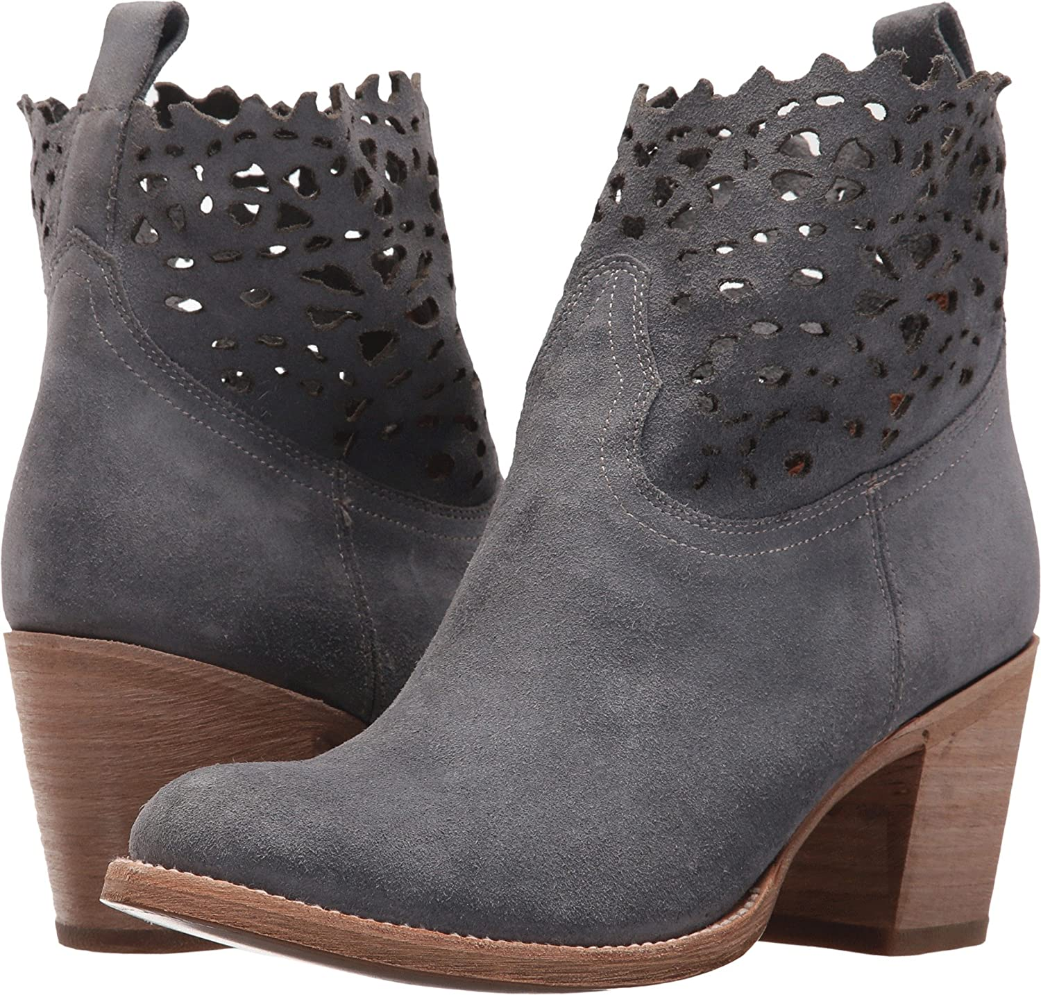 FRYE Women's Grey Suede Victoria Cut Short Boot Round Toe - 79117-Ept B075DC3C83 6 B(M) US|Jeans Soft Oiled Suede