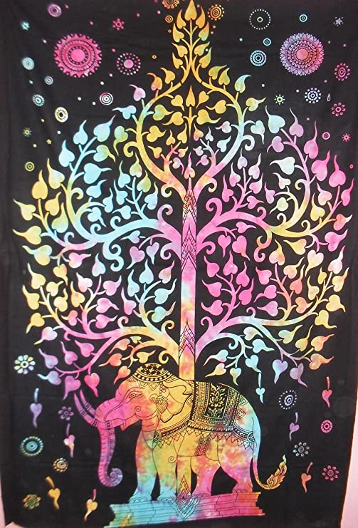 Elephant Tree Of Life Ethnic Indian Bohemian Wall Art Wall Decor Dorm Hippie Art