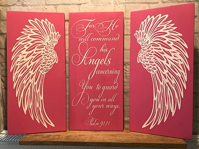 Amazon.com: Angel Wings Wall Decor, Psalm 91:11 Angels Scripture ...