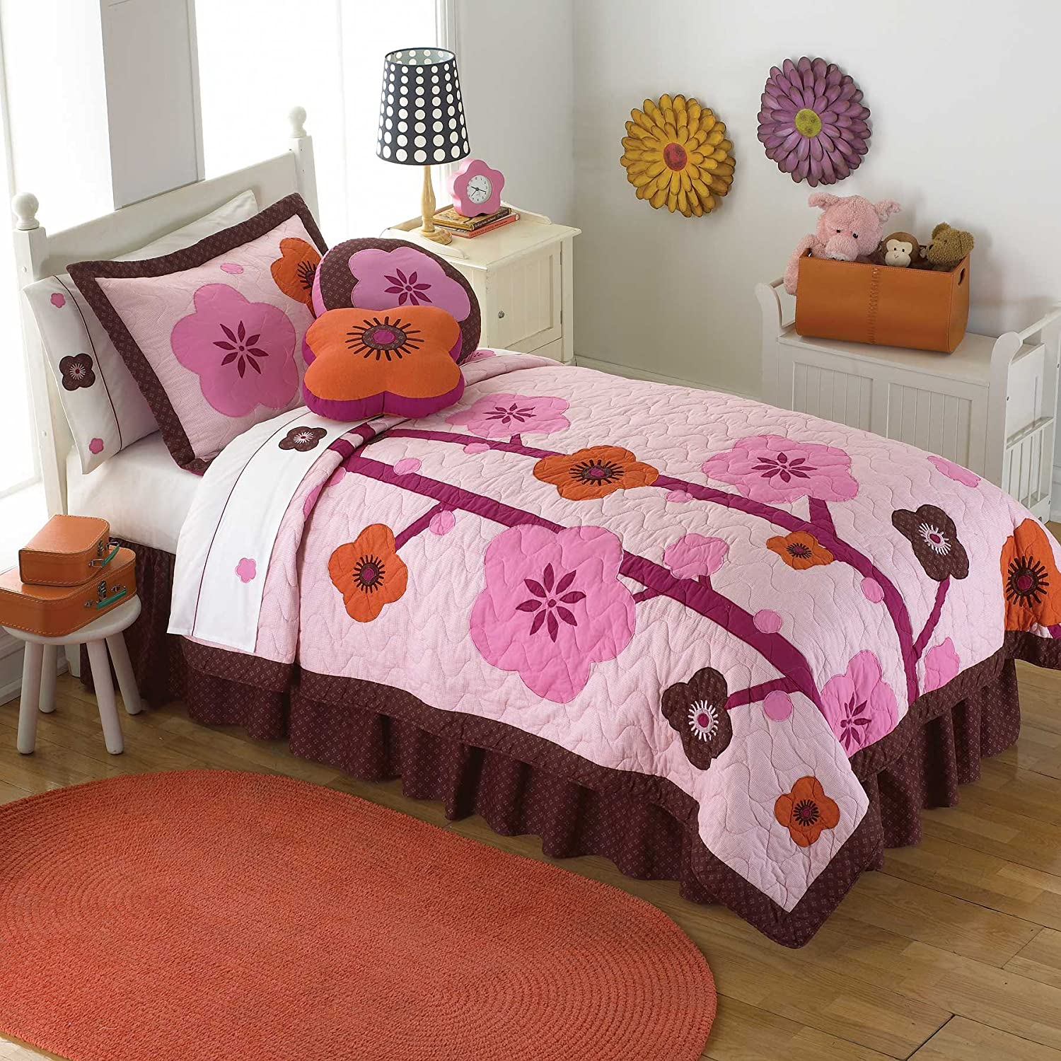 PEM America Flowers For Hanna Multicolor Quilt Set - Twin
