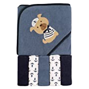 Luvable Friends Hooded Towel and 5 Washcloths, Sailor Dog