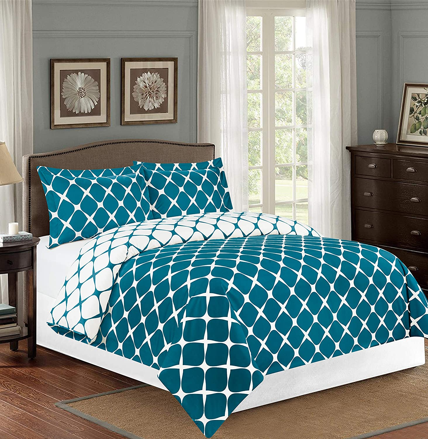 Elegant Comfort Luxury Soft and Cozy 1500 Thread Count Premium Hotel Quality 3-Piece Milano Trellis Pattern Printed Reversible Duvet Cover Set with Shams, King/California King, Teal - 2 Tone