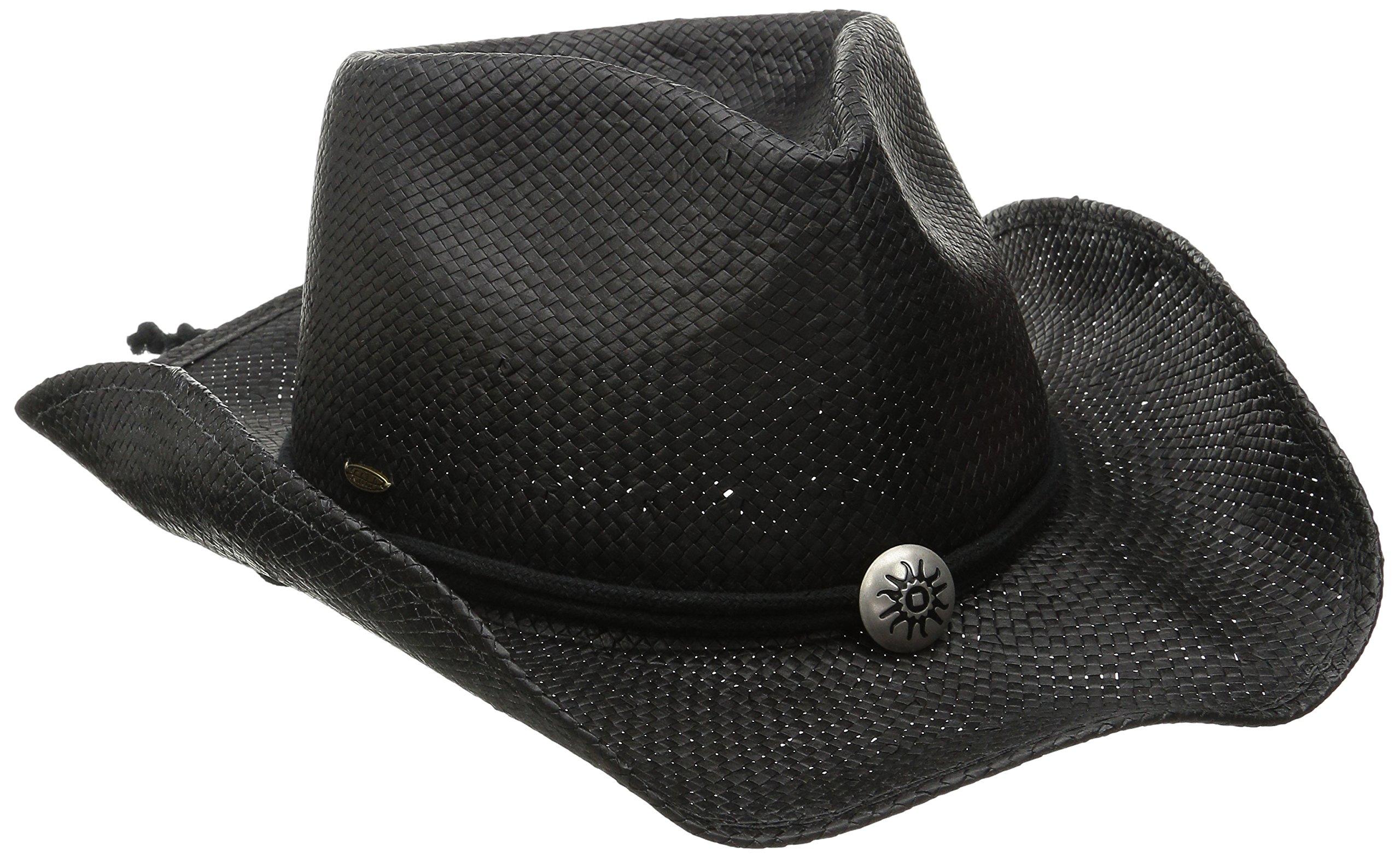 SCALA Women's Shapeable Toyo Western Hat (Small/Medium, Black)