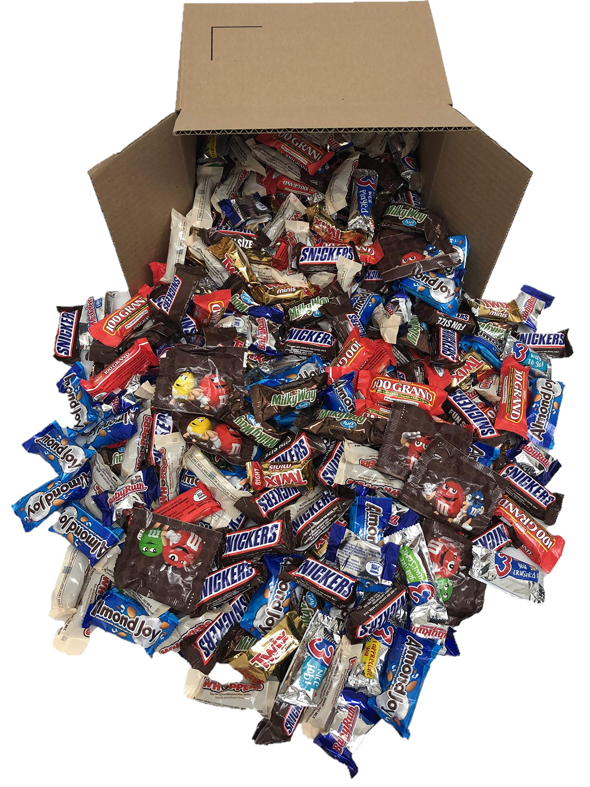 Betalicious Bulk Chocolate, Individually Wrapped: 5 LB Bag Variety Pack with M&M, Musketeers, Milky Way, Twix, Snickers, 100 Grand, Almond Joy. Baby Ruth and Whoppers by Betalicious
