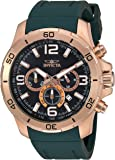 Invicta Men's 'Pro Diver' Quartz Stainless Steel and Polyurethane Casual Watch, Color:Green (Model: 24009)