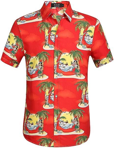 e424891b SSLR Men's Santa Claus Party Casual Hawaiian Ugly Christmas Shirts (Small,  ...