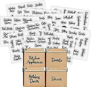 Good Karma Studio 150 Labels for Storage Bins + 15 Blank Labels, Farmhouse Font, Pantry Labels, Bathroom Stickers, Linen Closet Labels