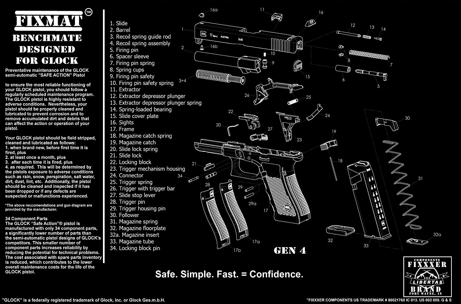 amazon com fixmat featuring glock diagram gen 4 11 x 17 handgun rh amazon com glock 19 manual of arms glock 19 manual gen 4