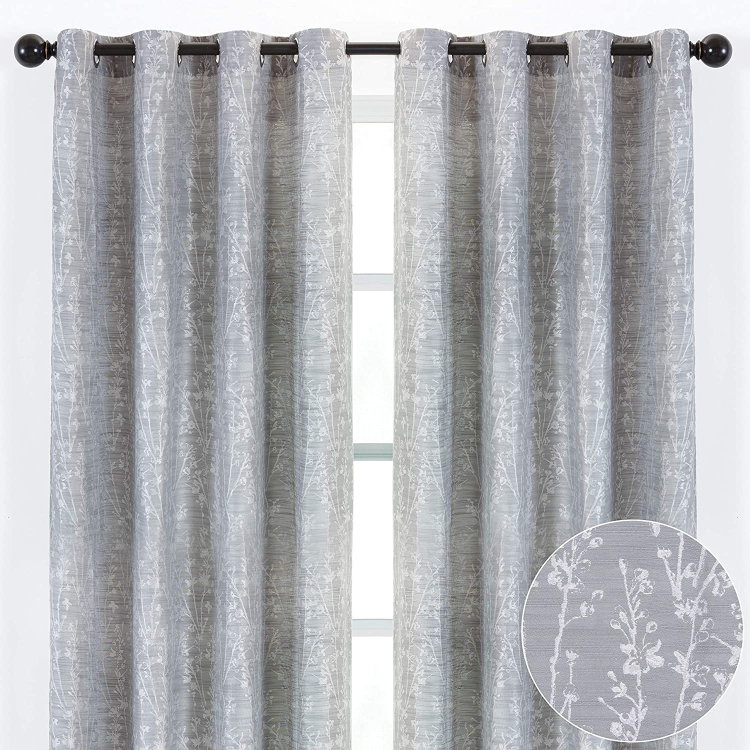Chanasya 2-Panel Floral Jacquard Textured Silver Curtains with Grommets for Windows Living Room Bedroom Office - Partial Room Darkening Drapes for Privacy and Decor - 52 x 84 Inch Long - Silver
