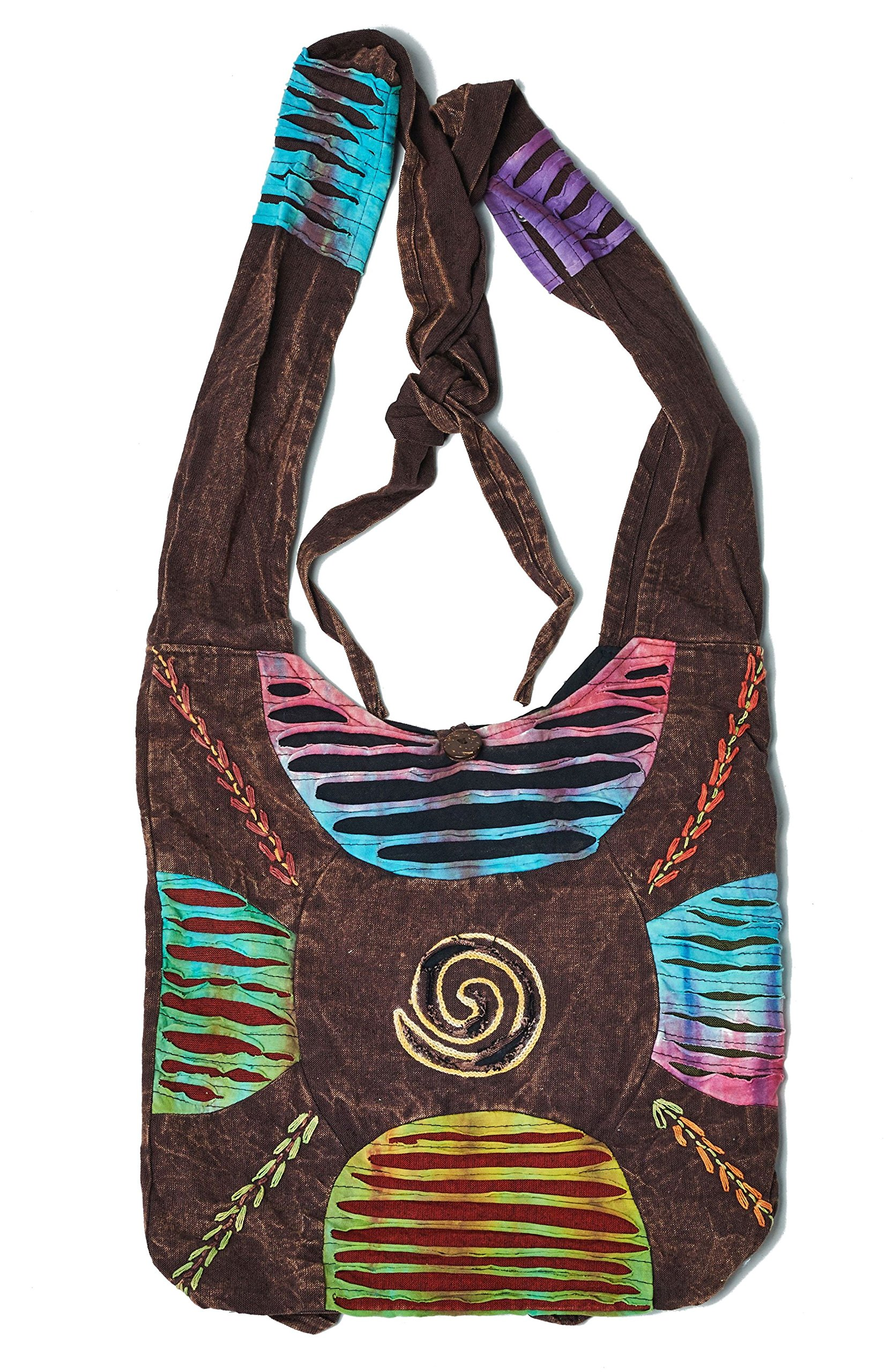 Bohemian Embroidered Ripped Razor Cut Sling Purse Handbag AND Backpack in Brown