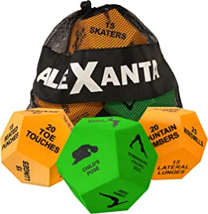 Alexanta Exercise Dice - Home Workout Equipment, Workout Dice: Cardio Training, Strength Training, 3X 12-Sided Foam Dice, Full Body Workout Training Equipment, Fun Workout Gear with Mesh Bag