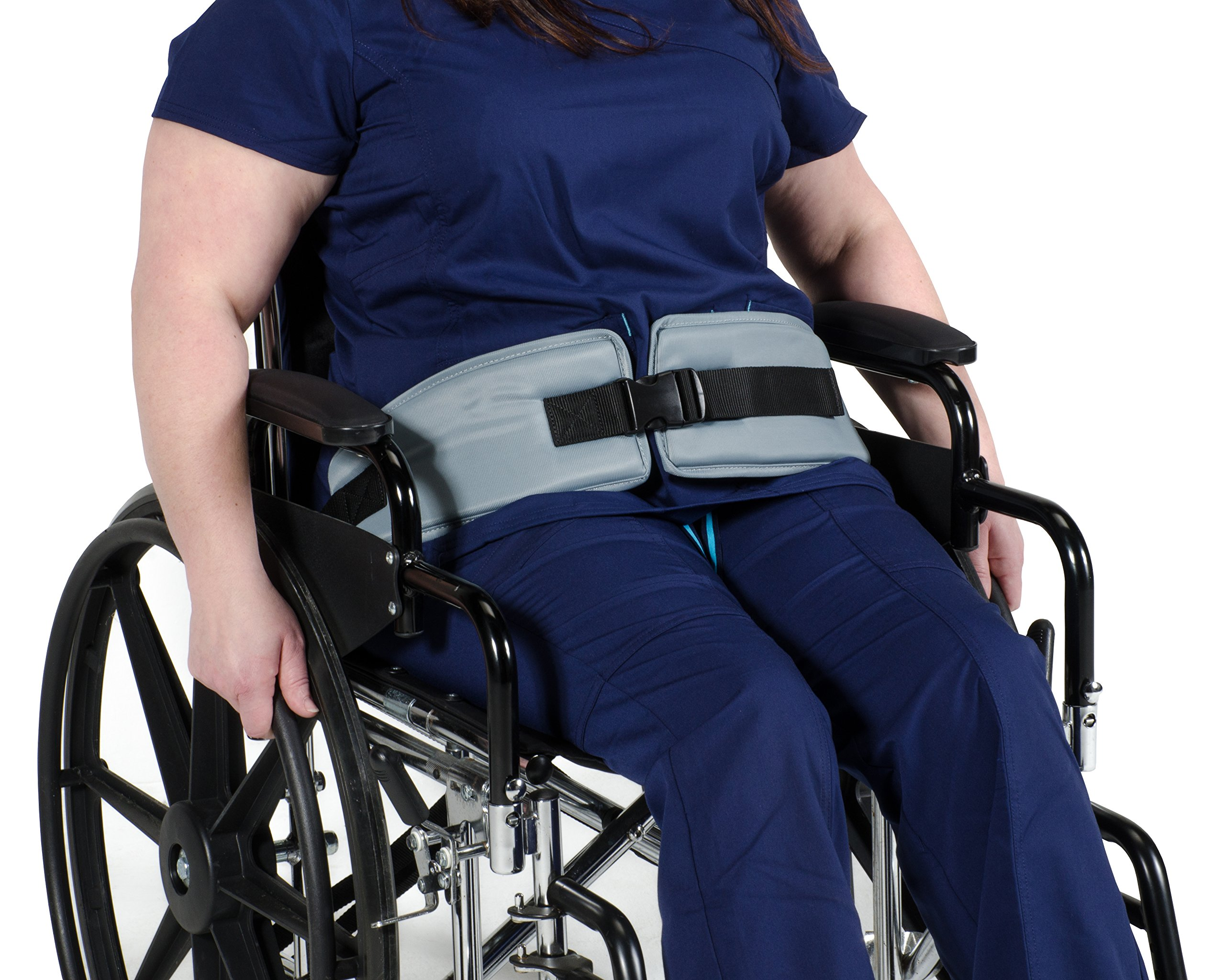 Patient Aid Padded Wheelchair Seat Belt - Adjustable Medical Safety Straps Secure Elderly, Disabled, Immobile to Prevent Sliding During Transfer, Transport – EMT Tie Downs Hospital Supplies by Patient Aid