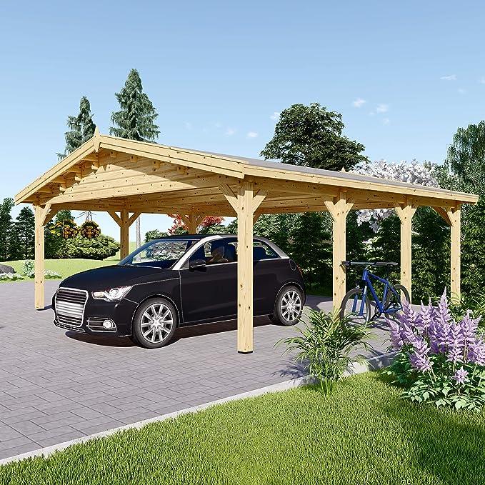 Chaletdejardin.fr Carport Classic de Madera Doble para Dos Coches, Superficie de 36 m² (600 x 600): Amazon.es: Jardín